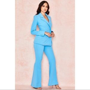 House of CB Erika Crepe Flared Trousers Blue XS